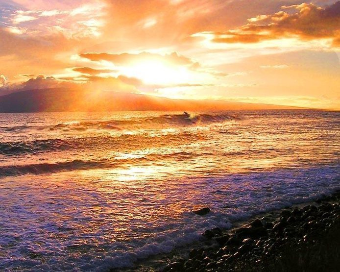 Sunset south shore Maui surfer Olaf Mitchell Photo Karen Lang