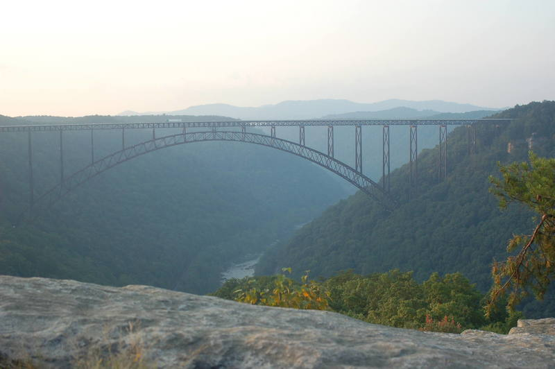 Bridge from Long Point. <br> For scale, bridge is over 3000' feet long and 800 above the river