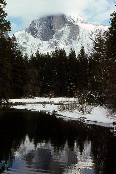Half Dome and Merced River-Winter.<br> Photo by Blitzo.