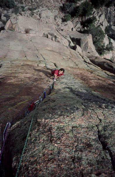 Peter Prandoni climbing Mississippi Halfstep on Poe Buttress in the Cathedral Spires near Foxton Co.Photo Olaf Mitchell