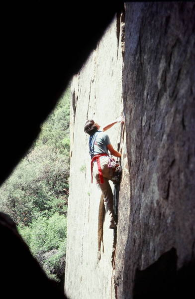 <br> Bruce Sposi on Outer Limits 5.10c located on The Cookie Cliff, Yosemite Valley, Ca.<br> Photo Olaf Mitchell<br> <br>
