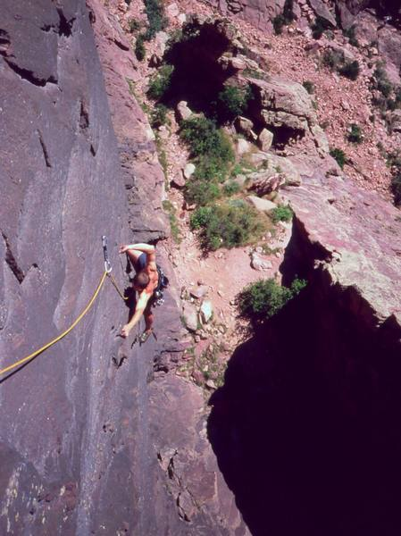"""""""Maybe more like this?""""  Josh Janes twisted in crux of 'Night (5.11)' on Eldo's Redgarden Wall. Photo by Tony Bubb in 2004."""