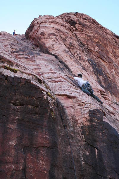 Right at the crux; this route is steeper than it appears in this photo!