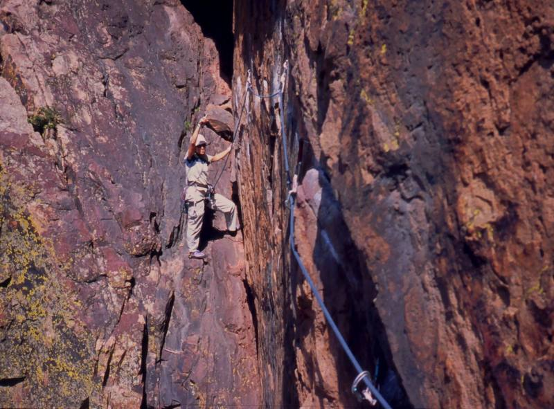 Joseffa Meir steps up to follow on P1 of 'Rosy Cruxifixion (5.10)', On Eldo's Redgarden Wall. Photo by Tony Bubb, 2004.