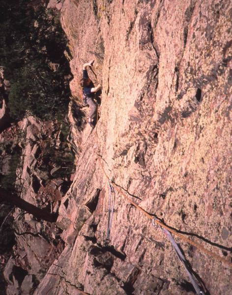 Dave Stewart follows P1 of 'Three Old Farts Young At Heart (5.10)' on Eldo's Redgarden Wall. Photo by Tony Bubb, 2004.