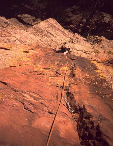 Dave Stewart follows up to the crux on P2 of 'Three Old Farts Young At Heart (5.10)' on Eldo's Redgarden Wall. Photo by Tony Bubb, 2004.