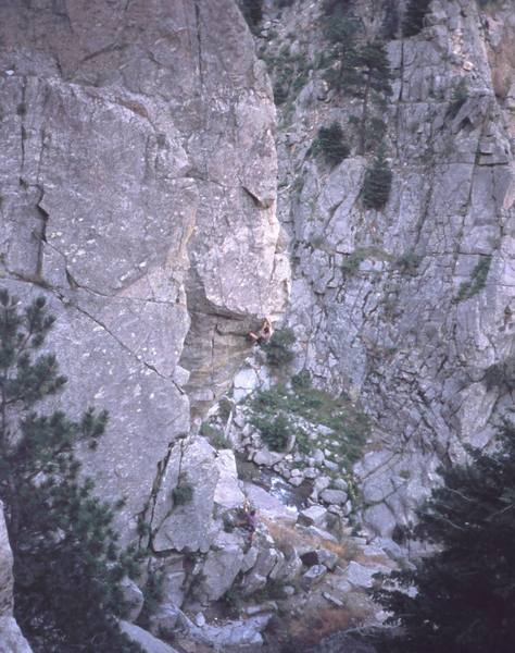 Tony Bubb in the crux section on 'Lucid Dreaming (5.13-)' on Plotinus Wall. This is where I popped off- Chris Parks belays. Photo by Peter Spindloe, 2003.