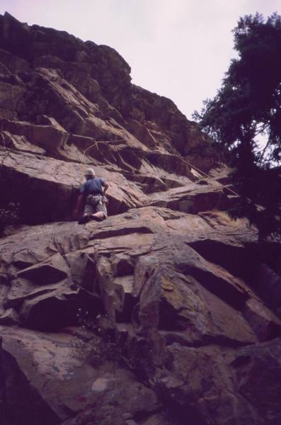 Ivan Rezucha on 'A.C.E.' at Vampire Rock in Boulder Canyon. Photo by Tony Bubb, 2005.