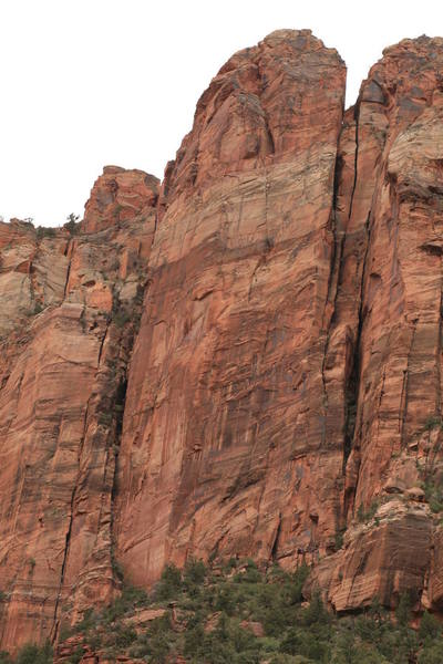 Route follows crack system in the center of this steep face.