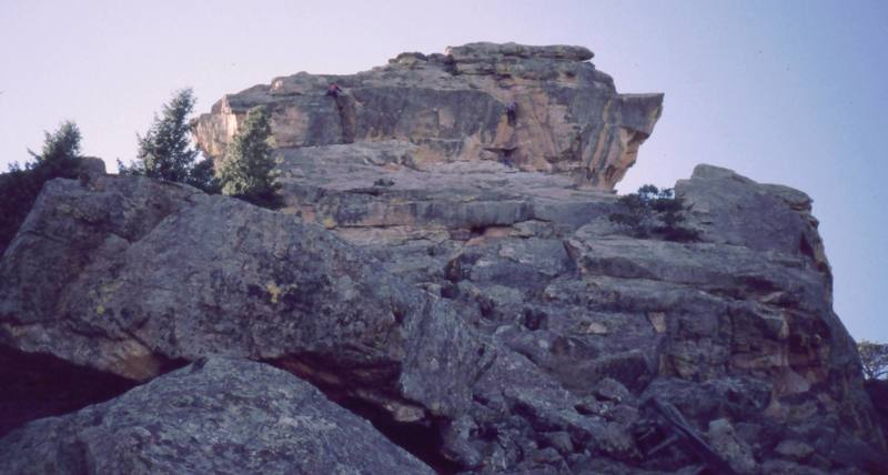 In this photo, a party is on each of the two climbs in the East Face of Devil's Thumb, both 'Left Side' and 'Toponas.'<br> <br> Photo by Tony Bubb, 2002.