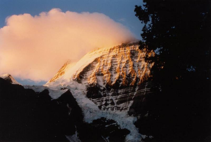 The Emperor Face and North Face of Mt. Robson, just above Berg Lake.  This isn't the greatest scan.  If someone posts a better image of the same face, or I get this rescanned, I'll remove this one.  Picture by Chris McRaild.