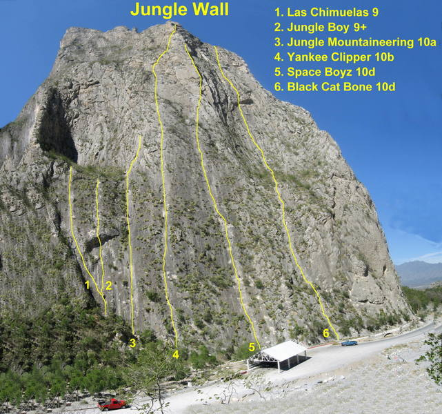 Main routes on Jungle Wall. Photo taken February, 2007.