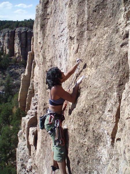 Larissa nearing the top of 'Black Man's Burden'.