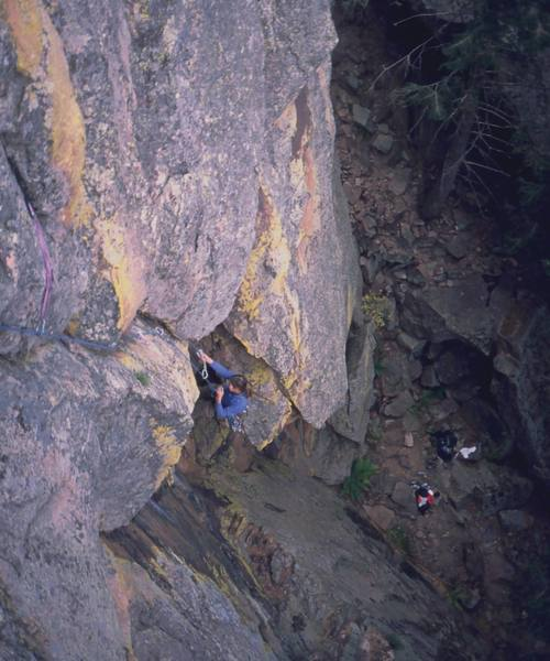 Joseffa Meir hits the crux, following the F.F.A. of 'Real Men Don't Eat Quiche (5.11-)' on the Matron's North Face. Photo by Tony Bubb.