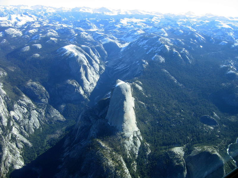 The west face of Half Dome, home of the Snake Dike.