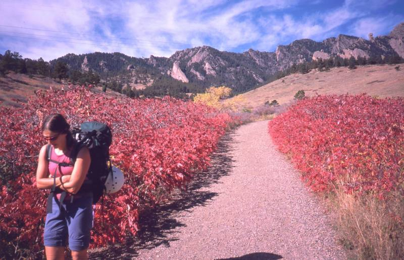 In October the trails through the South side of Boulder's Flatirons have a great color as the Bluestem grass and Sumac take on their autumn hue. Joseffa Meir enjoys the hike back from the Matron.
