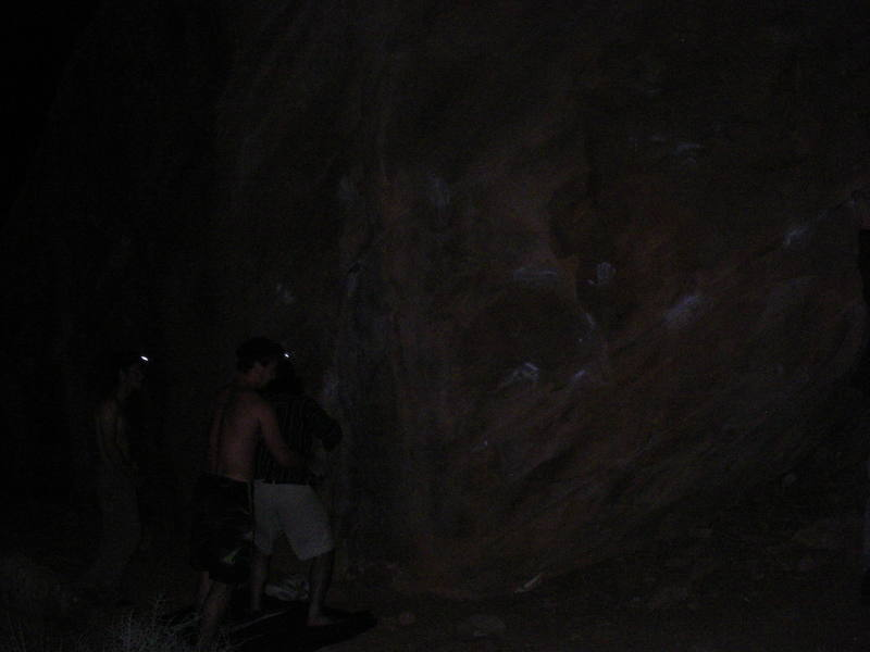 Headlamped bouldering sesh in Zion