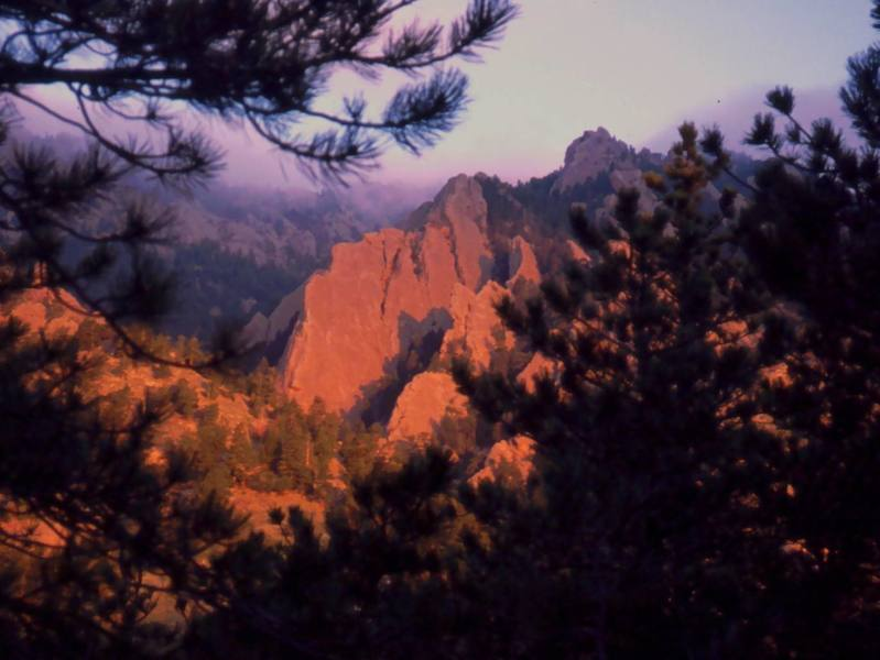 Sunrise on Satan's Slab and Stairway to Heaven as viewed from the approach, just after the Water Tower. Photo by Tony Bubb, 2004.