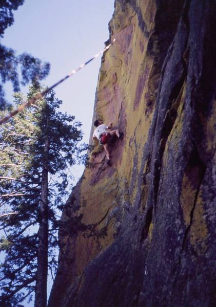 Tony Bubb follows on the spicy but sweet 'Salsa Verde (11c)' on Green Mountain Pinnacle in the Flatirons. Photo by Vernon Stiefel (R.I.P.), 2005.