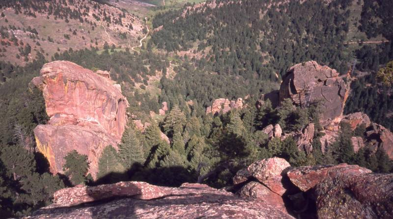 The Box (Left) and The Finger (right) as viewed from the West on the Fee Fi Fo Fum areas. Photo by Tony Bubb, 2004.