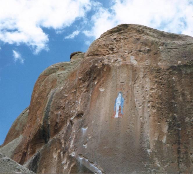 A pictograph predating the climbing by Los Hermanos de las Penitentes.