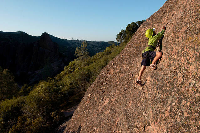 A student from Ring Mountain Day School in Mill Valley makes a trip up the left side of the First Sister.