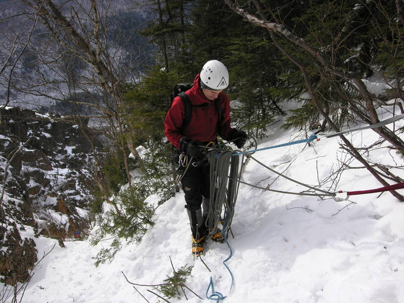 Arthur Kehas Belaying at the top of Shoe String Gully