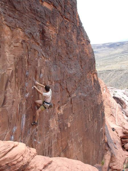 Josh on the lower section of 'Totally Clips' during his onsight. Not bad for a guy with less than a year of climbing under his belt!