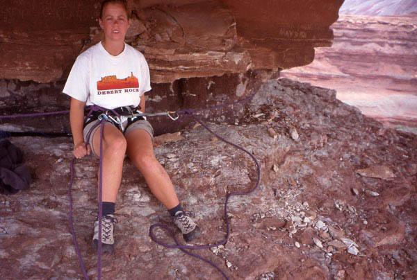 Andrea Gordon at the base of the climb.    Photo by Todd Gordon