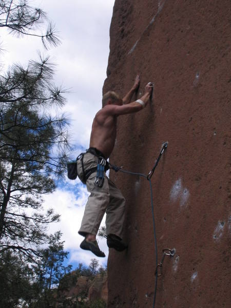 Here I am falling off at the crux of GFTB yet again.  This was two years ago and after tweaking a finger I haven't been back since.  However, after many hangboard sessions I am ready to go back... and probably be humbled once again.