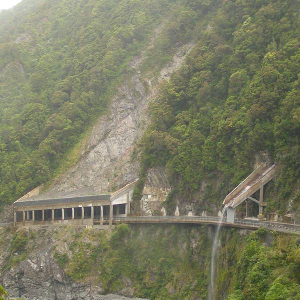 A slide shed in New Zealand used to mitigate rockfall.
