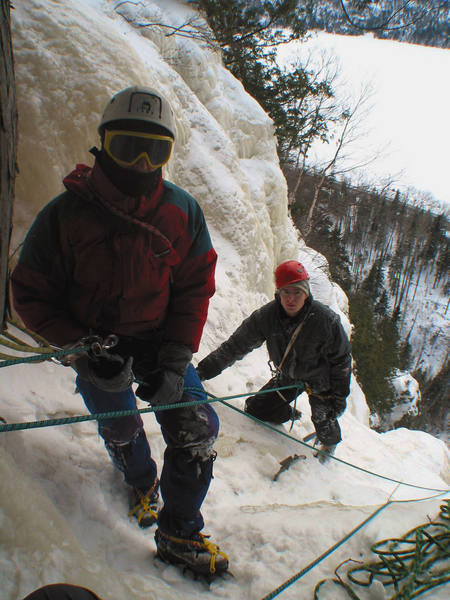 Joel Therneau and Roberto Gallina on the belay on top of the climb. February, 2004.