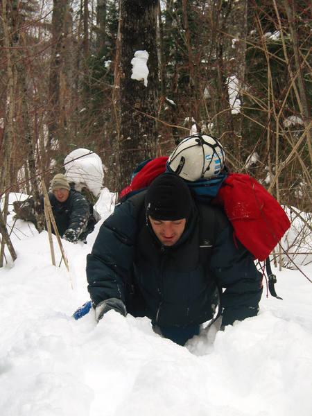 Roberto and Joel approaching Tears of Joy through waist deep snow. February, 2004.