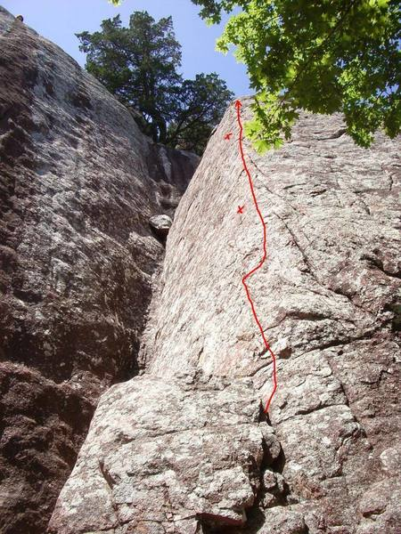 Red line shows approximate path up  Frankly Scarlet. X's mark the approximate location of the two bolts on the route