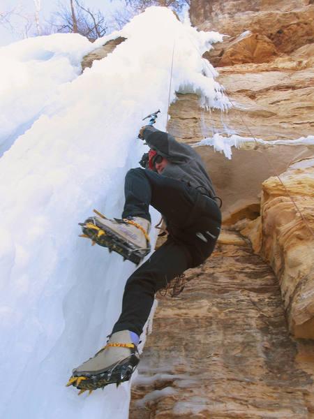Orhun Kantarci climbing the lower section of the Center Pillar. January, 2005.