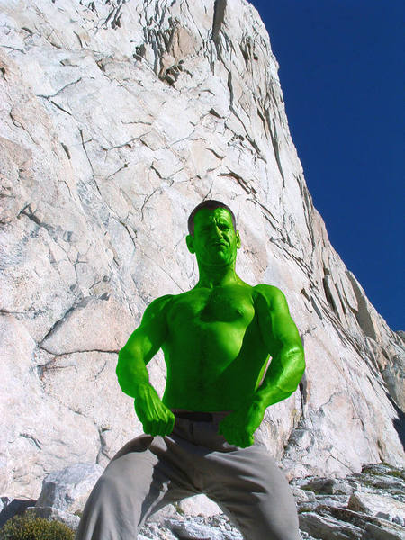 My friend Patrick Price goofing at the base of Incredible Hulk. Summer, 2005.