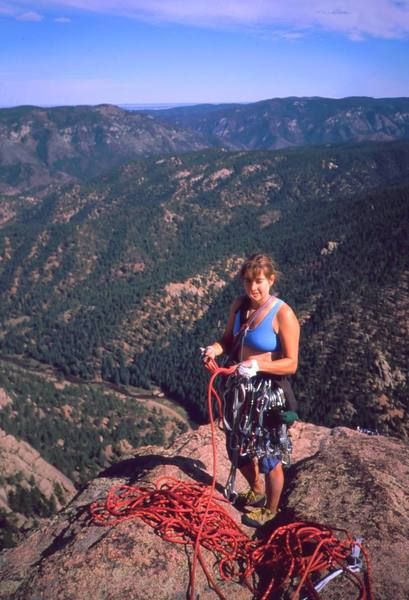 Joseffa Meir at the summit of Wunsch's Dihedral. Photo by Tony Bubb, ~2001.