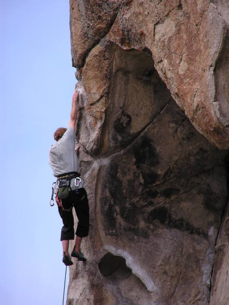 Brian is at the upper crux, after pulling out of the massive hueco...