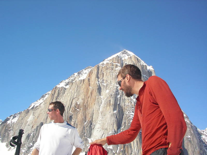 Andy Grauch and Ryan from Bend hanging out at basecamp.  The 5000ft east face of Mount Dickey in the background