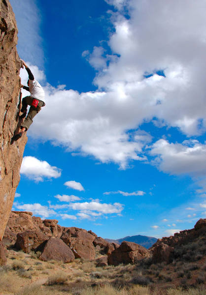 The West Face of the Serengeti Boulder.  This side offers great semi-highball warmup problems.