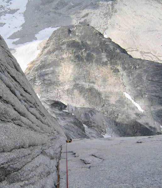 Looking down the corner and the wall to the belay that is just above the crux. Some exposure here.