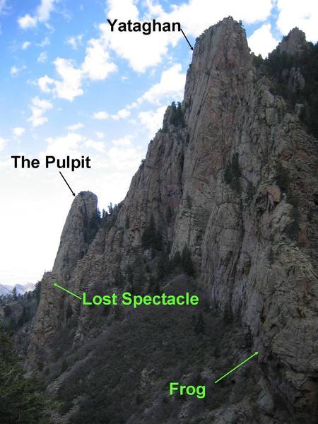 Overview of the Pulpit/Yataghan area from the La Luz Trail, approximately below the Thumb