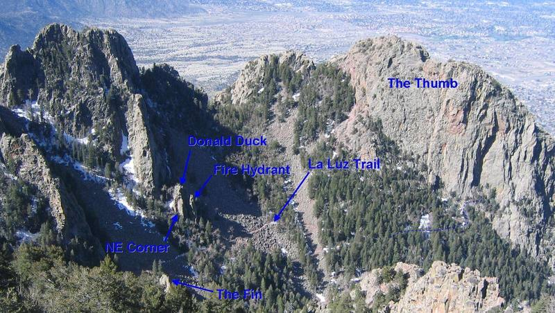 Overview of some of the features on the south side of Upper La Cueva Canyon.  View from the first switchback on the Crest Trail.