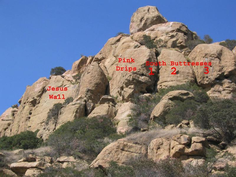 View of Stoney Point from near Boulder 1 with some walls labeled.