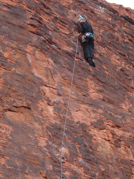Close to the end.  Great (near) vertical climbing!
