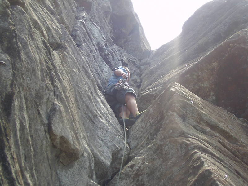 Takin a rest after the crux.