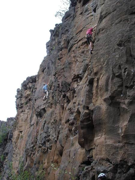 Climbers enjoying a beautiful spring day at Lava Point.