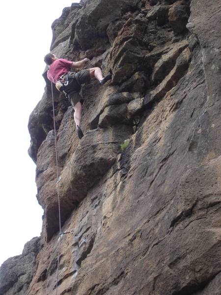 """Andy about to crux on """"Saint of Circumstance"""" 5.10c at Lava Point/Deadheads."""
