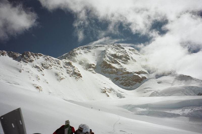 Looking up at the summit from our food cache just past windy corner.  June 2003