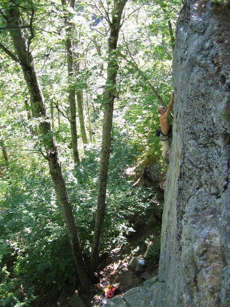 Figuring out the crux sequence...<br> <br> phot by Liam Griffin